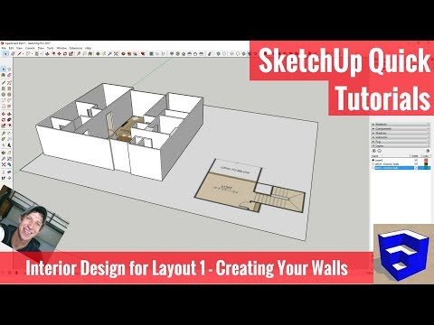 SketchUp Interior Design for Layout 1 - Walls from a Floor Plan Image
