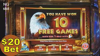🌟Hihg Limit Slot Play🌟 Eagle Bucks Slot Machine Bonus Won $20 Bet 🌟🌟 LIVE SLOT PLAY🎰🎰