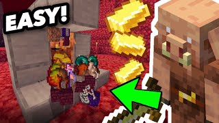 CRAZY Piglin Bartering Farm/GLITCH For Minecraft Bedrock!!! Full inventory in seconds!!!