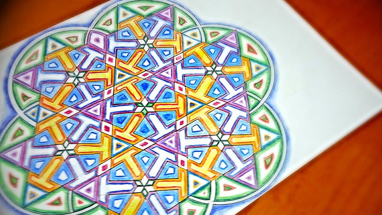 How To Draw Mandala With Islamic Star Patterns - 6 Fold Pointy ...