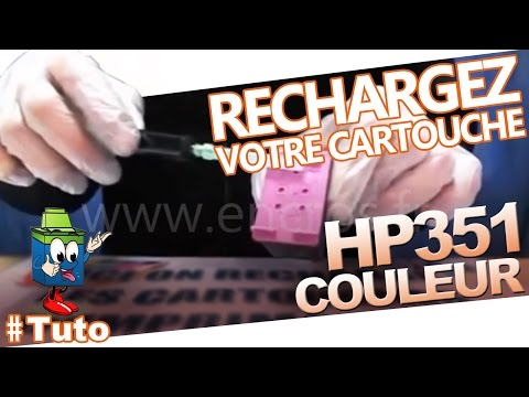 351 hp cartouche d 39 encre hp351 couleur recharger facilement la cartouche youtube. Black Bedroom Furniture Sets. Home Design Ideas