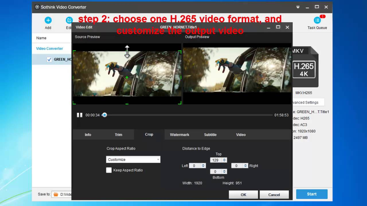 How to convert video to H 265 format to greatly reduce the large source  size?
