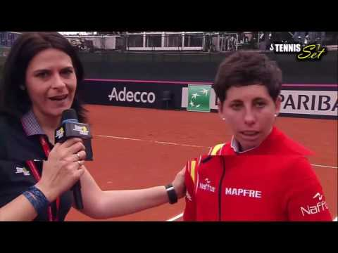[HD] Carla Suarez Navarro vs Roberta Vinci Interview Fed Cup Spain 2016