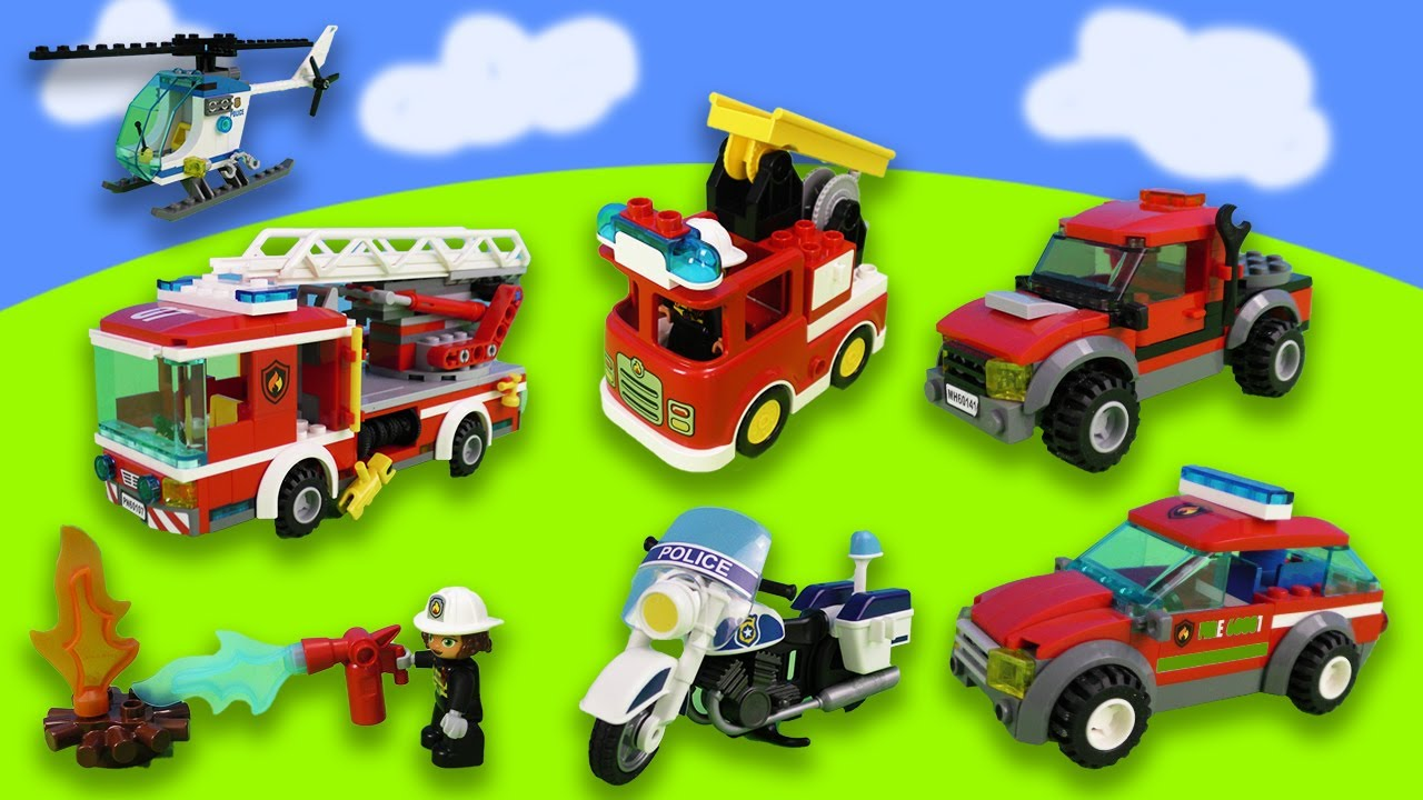 1 hour with Lego: fire engines, police cars and theme park with roller coasters