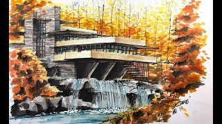 fallingwater house sketch tutorial
