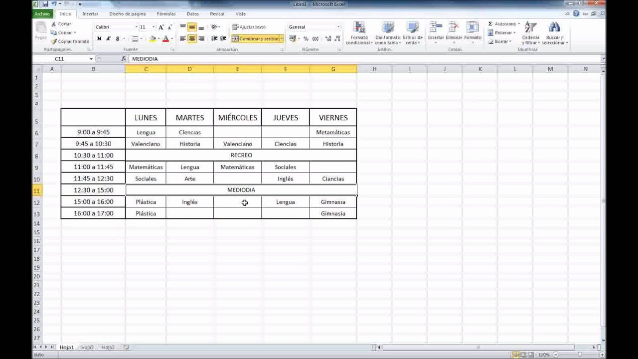 Excel 2010  Hacer Un Horario Escolar En Excel 2010 Youtube