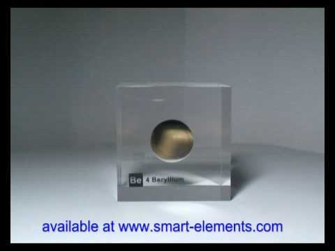 Optically polished Beryllium disc embedded in acrylic cube