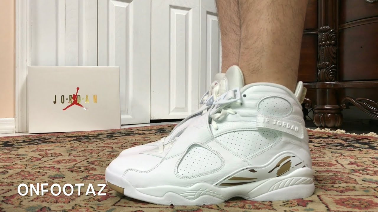 eb3c7346234903 Air Jordan 8 VIII OVO White On Foot - YouTube