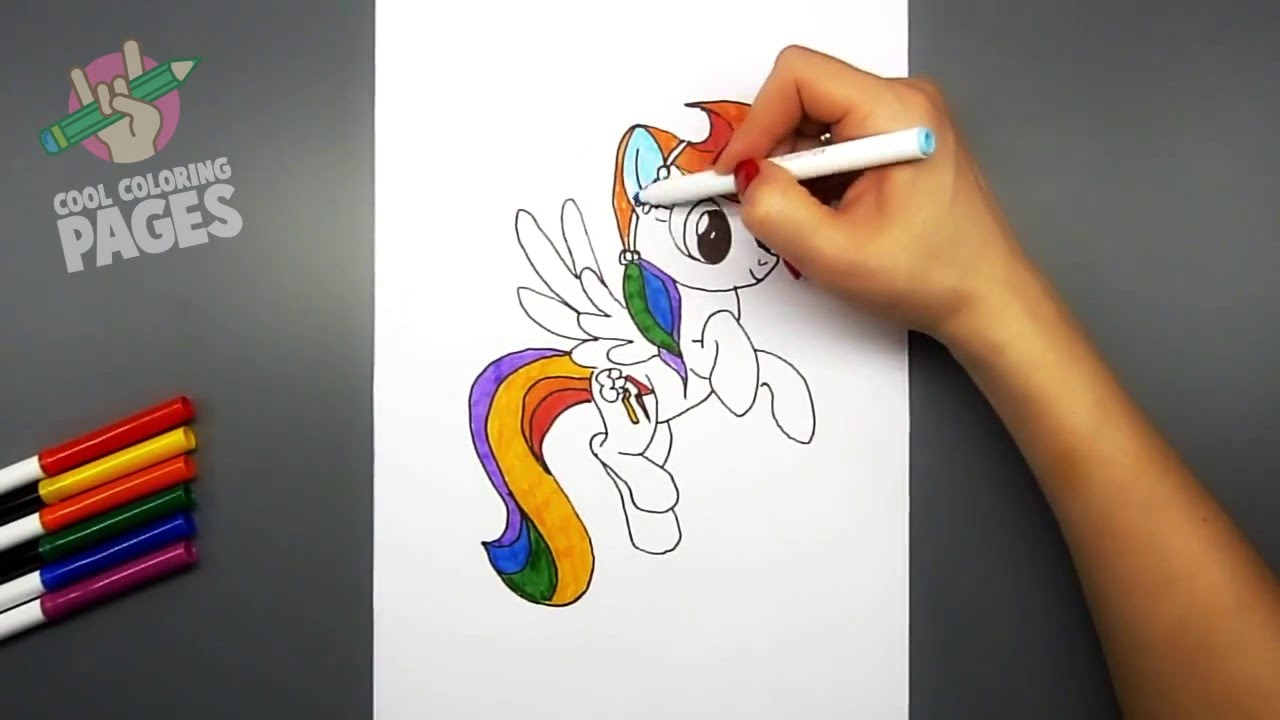 how to draw and color my little pony rainbow dash cool coloring