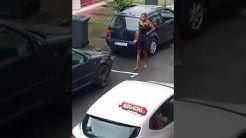 Altercation au Lamentin Martinique. La femme sort son pistolet.