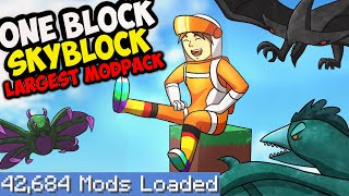 One Block Skyblock but I download every single mod