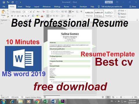 How To Create A Resume Templates In Word Free Download