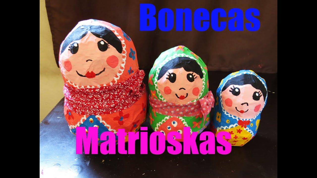 Artesanato Com Garrafa De Vidro E Barbante ~ Artesanato Bonecas Russas feita com bexiga e jornal(Matrioskas) YouTube