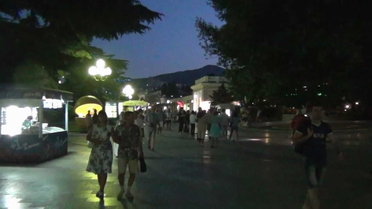 Ночная ЯЛТА Набережная Фонтан NIGHT YALTA UKRAINE LENIN 09 ...