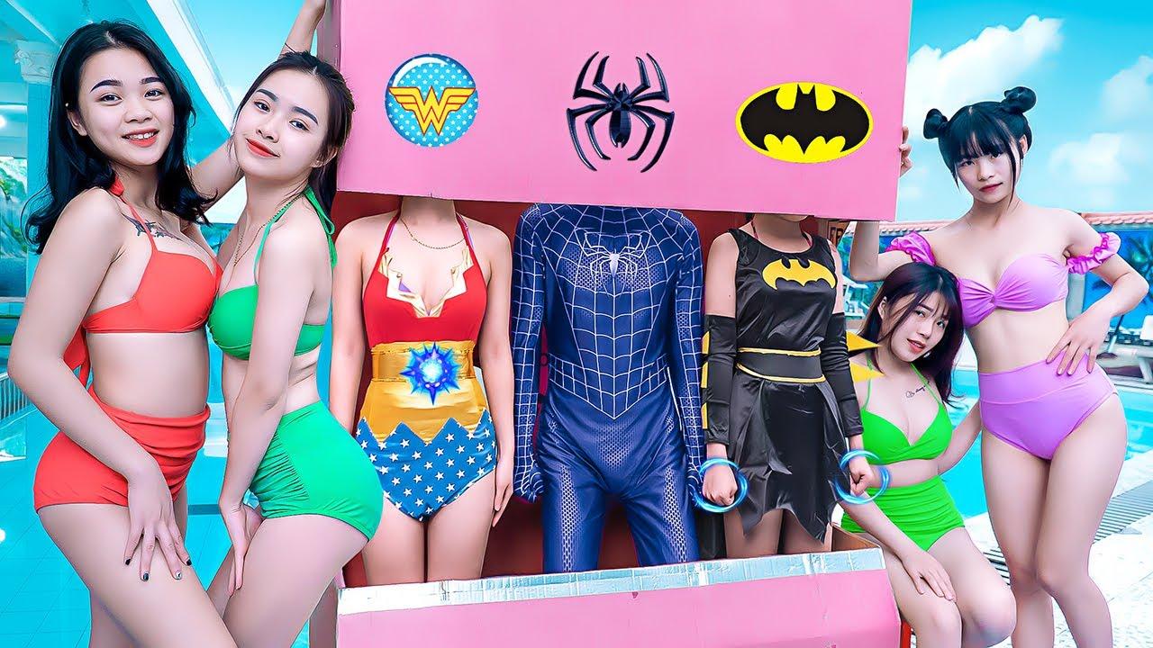 SUPER WONDER RESCUE UGLY GIRL IN WC MAGIC PRANK BATTLE Girl Nerf Guns VOLLEYBALL BOY Green Girl Nerf