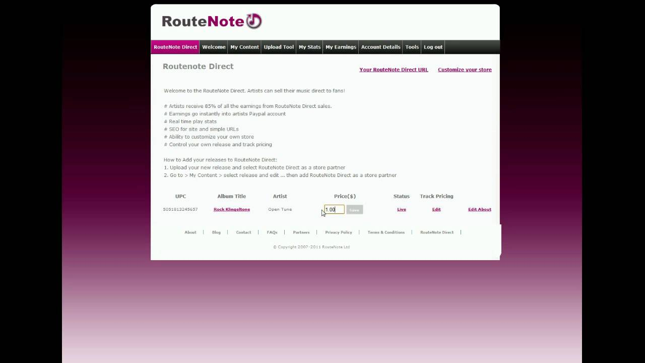 RouteNote Direct: Create Your Own Customizable Music Store and Sell Direct to Fans
