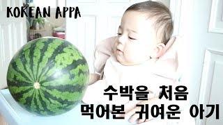 수박을 처음 먹어본 귀여운 아기