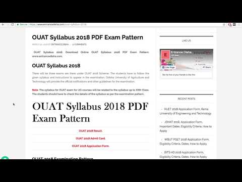 OUAT Syllabus 2019 PDF Exam Pattern  Read all syllabus here