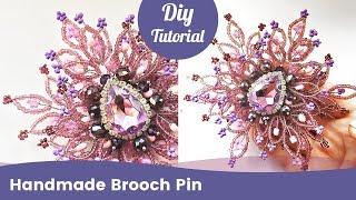 How to Make Saree Pin. Handmade Beaded Saree Brooch Making