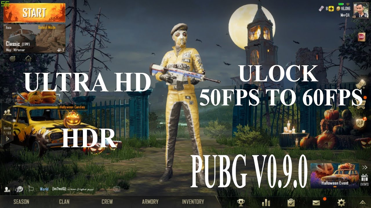 Unlock 60F PSAnd Ultra HD Pubg Mobile V0.9 On Tencent