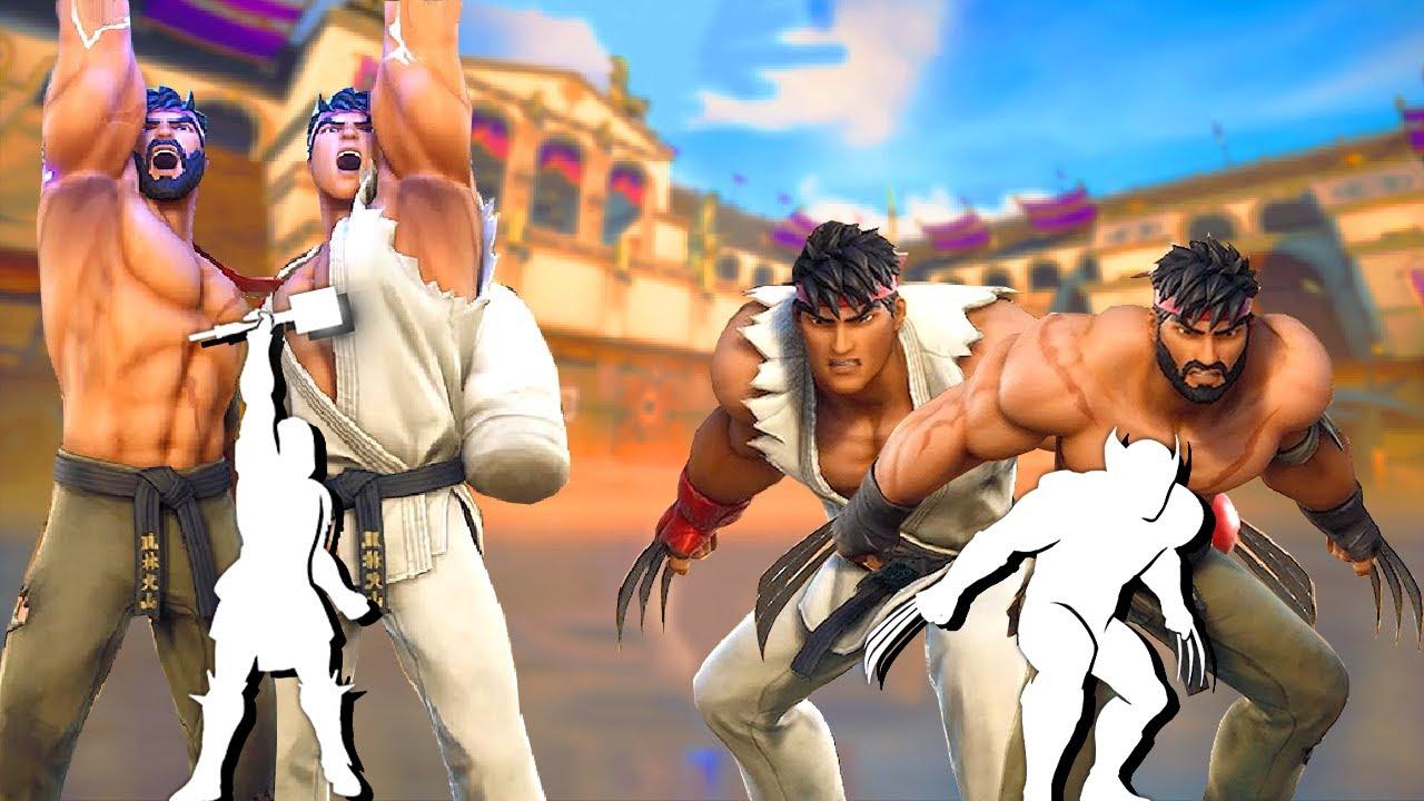 Fortnite Ryu Skin (All Styes) doing All Built-In Emotes!..