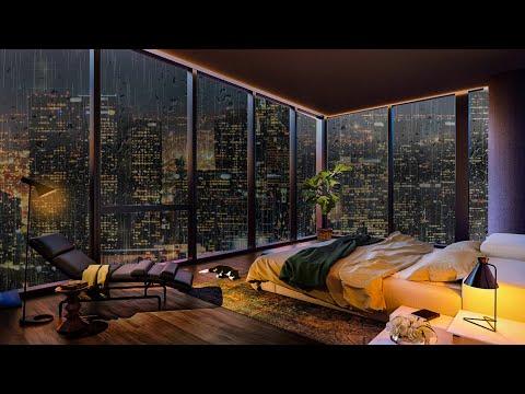 Luxury NYC Penthouse   Rain on Window Sounds For Sleeping   Cozy Bedroom Ambience