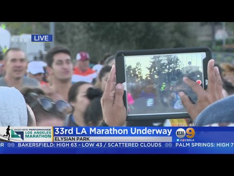 And They're Off! 25K Runners Take Off As LA Marathon Kicks Off At Dodger Stadium