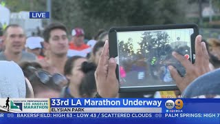 And They're Off! 25K Runners Take Off As LA Marathon Kicks Off At Dodger Stadium thumbnail