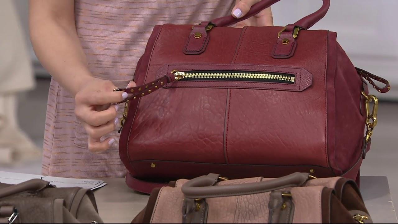 3fc8781107ba orYANY Lamb Leather Satchel Handbag -Donna on QVC - YouTube
