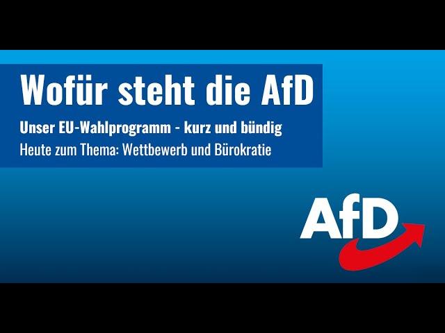 Wofür steht die AfD? Unser EU-Wahlprogramm: Wettbewerb und Bürokratie