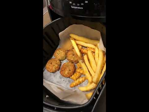 how-to-make-fries-and-kebab-/-cutlet-using-air-fryer-(w/-parchment-paper)