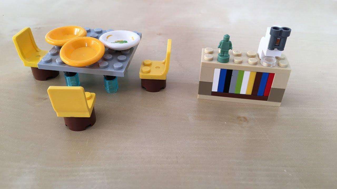 lego möbel nachbauen mit tom #003 - esstisch und kl. bücherregal