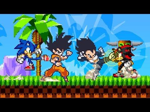Goku E Vegeta Vs Sonic E Shadow