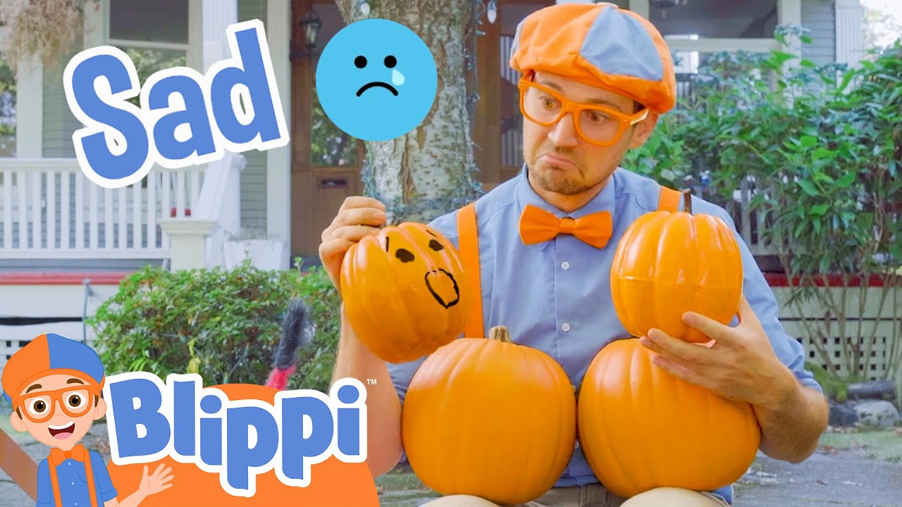 Blippi Learning Emotions With Halloween Pumpkins | Halloween Videos For Kids