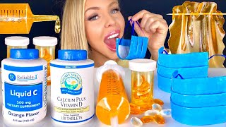 ASMR EDIBLE CANDY BLUE FACE MASK HOW TO MAKE CHOCOLATE VITAMIN C BOTTLE JELLO SHOOTERS MUKBANG 먹방