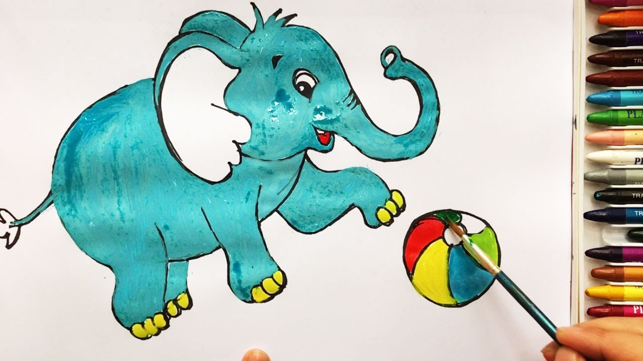 How To Draw Elephant Coloring Pages Animals For Kids Art Colors