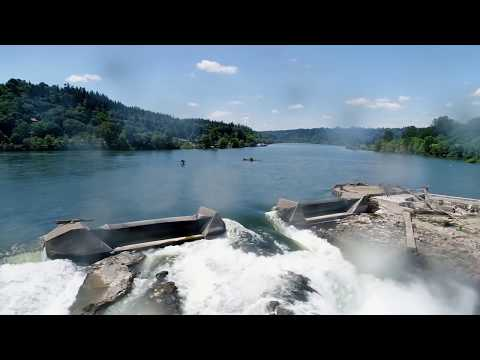 Drone video of Willamette Falls in Oregon City, future site of riverwalk project