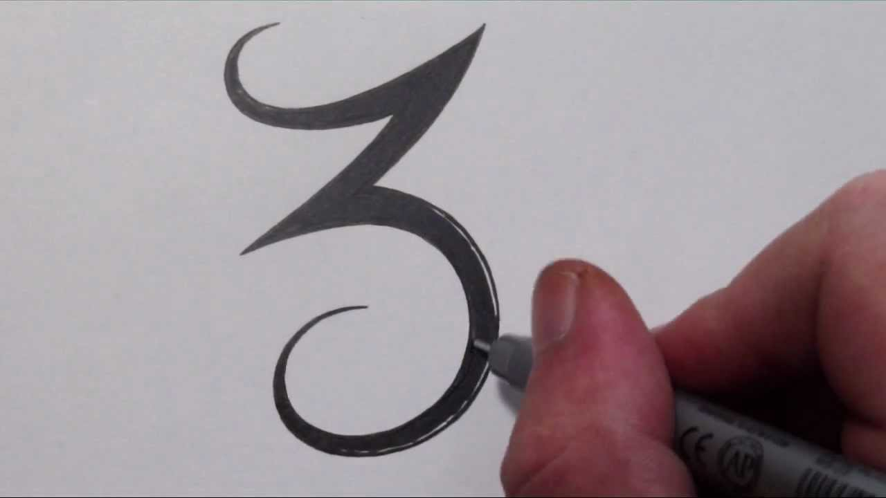 how to draw a simple tribal number 3 youtube