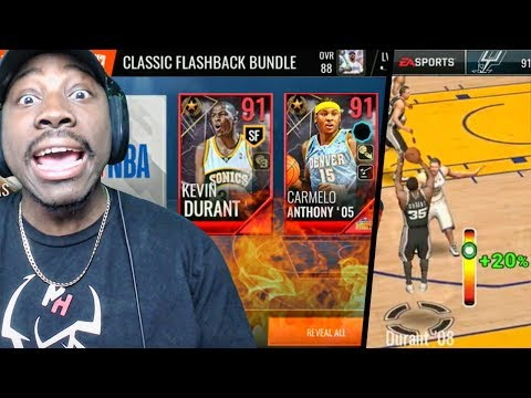 NEW FLASHBACK MELO PACK OPENING & DURANT GAMEPLAY! NBA Live Mobile 18 Ep. 20