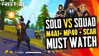 Best Gun M4A1 + Mp40 Solo vs Squad Gameplay - Garena Free Fire- Total Gaming