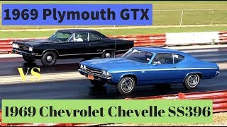 1969 Chevelle SS396 L78 vs 1969 Plymouth GTX 440!!! Pure Stock Muscle Car Drag Race