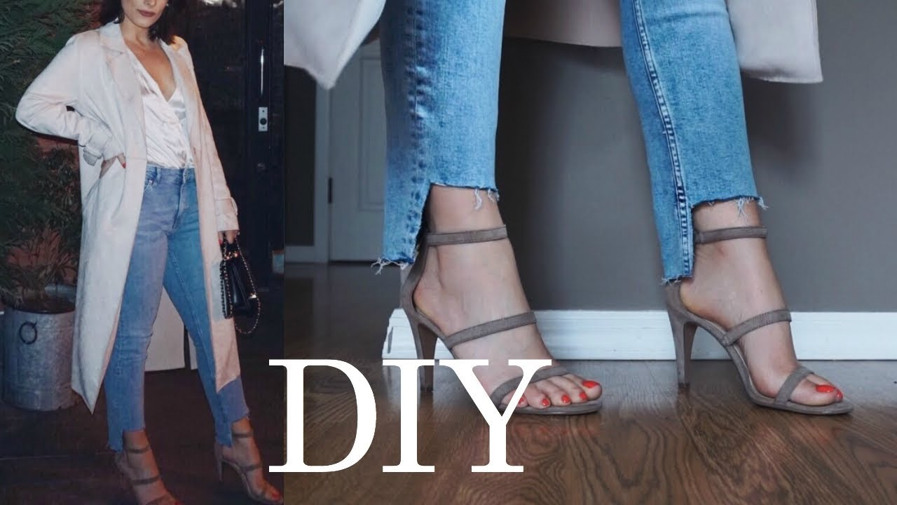 cfe9c0a0 DIY frayed Denim cut out Ankles | REVAMP jeans | cropped raw hem ...