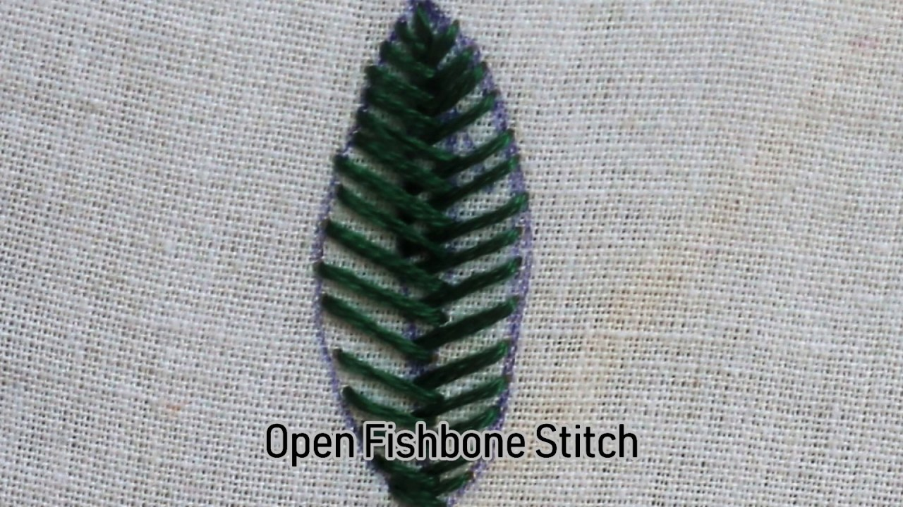 Open Fishbone Stitch In Hand Embroidery Step By Step & Video ...