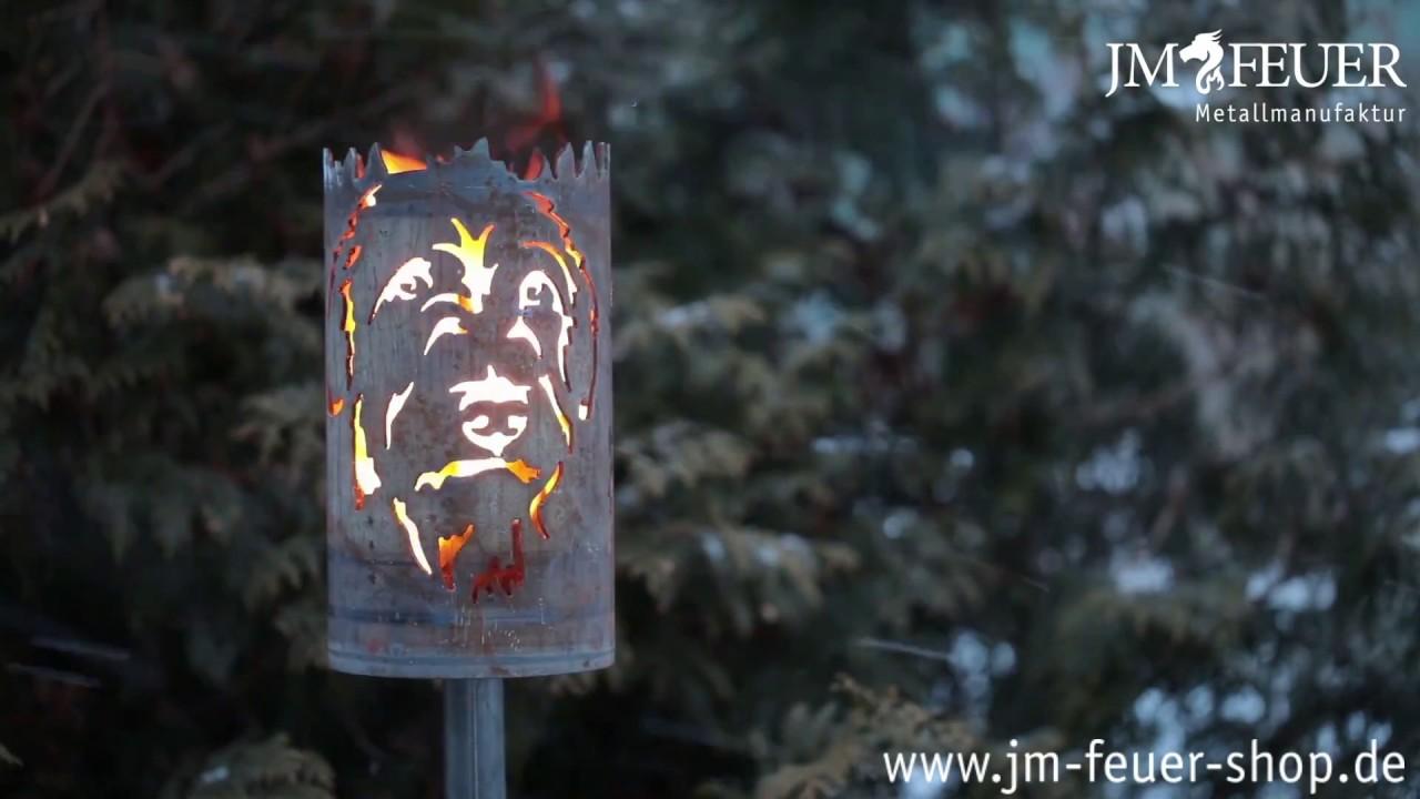 Jm Feuer Shop gartenfackel irischer wolfshund aus metall