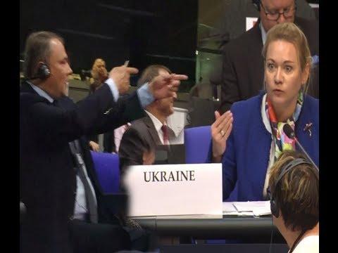 Russian MP points finger gun at Ukrainian MP during her speech in Bundestag