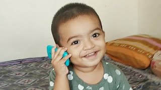 funny baby talking on mobile for the first time - funny baby videos