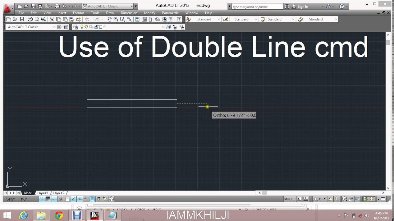 Drawing Lines In Autocad Using Coordinates : Use of double line command in autocad youtube