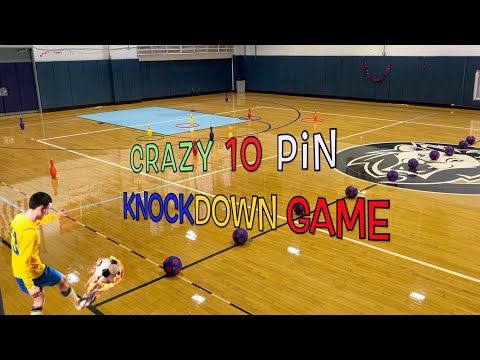 Crazy 10 pin knockdown game | Phys ed games