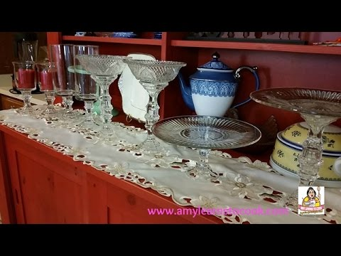 How to make a Dollar Store Cake Stand and Footed Candlesticks for a Buffet Table