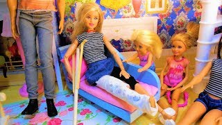 BARBIE BREAKS HER LEG! Gets a CAST- Crutches- Falls down the stairs- Fun With Toys